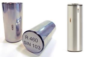 Zylinderrollen mit linienförmigen Laserverbrennungen zur Simulation unterschiedlicher Schleifbrandintensitäten (reine Eigenspannungsveränderung, beginnende Anlasszone, Neuhärtung)